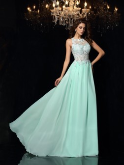 A-Line/Princess High Neck Applique Sleeveless Sweep/Brush Train Chiffon Dresses