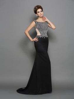 Trumpet/Mermaid Square Beading Sleeveless Sweep/Brush Train Chiffon Dresses