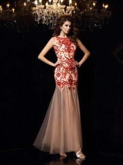 Sheath/Column Scoop Beading Sleeveless Floor-Length Satin Dresses