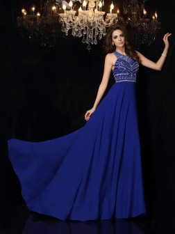A-Line/Princess High Neck Beading Sleeveless Sweep/Brush Train Chiffon Dresses