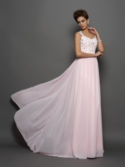 A-Line/Princess Straps Beading Sleeveless Applique Sweep/Brush Train Chiffon Dresses