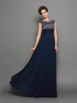 A-Line/Princess Scoop Beading Short Sleeves Floor-Length Chiffon Dresses