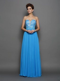 A-Line/Princess Sweetheart Applique Sleeveless Floor-Length Chiffon Dresses