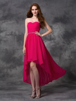 A-line/Princess Sweetheart Beading Sleeveless Asymmetrical Chiffon Bridesmaid Dresses