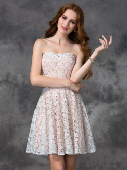 A-line/Princess Sweetheart Lace Sleeveless Short/Mini Lace Cocktail Dresses