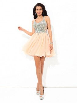 A-Line/Princess Straps Rhinestone Sleeveless Short/Mini Chiffon Cocktail Dresses
