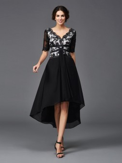 A-Line/Princess V-neck Lace 1/2 Sleeves Asymmetrical Chiffon Dresses