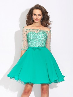 A-Line/Princess Off-the-Shoulder Beading 1/2 Sleeves Short/Mini Chiffon Dresses