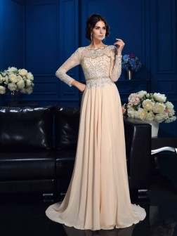 A-Line/Princess Scoop Beading Long Sleeves Sweep/Brush Train Chiffon Mother of the Bride Dresses