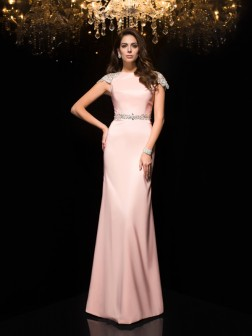 Sheath/Column Jewel Beading Short Sleeves Floor-Length Satin Dresses