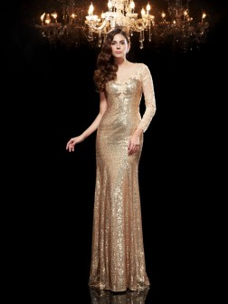 Trumpet/Mermaid Scoop Lace 3/4 Sleeves Floor-Length Sequins Dresses
