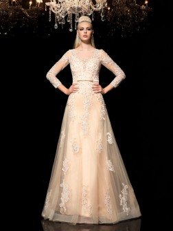 A-Line/Princess Sheer Neck Applique Long Sleeves Floor-Length Satin Dresses