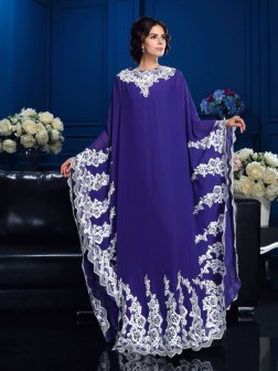 A-Line/Princess Scoop Applique Long Sleeves Floor-Length Chiffon Mother of the Bride Dresses