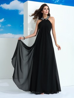 A-Line/Princess Halter Beading Sleeveless Floor-Length Chiffon Dresses