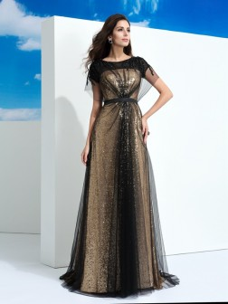 A-Line/Princess Sheer Neck Paillette Short Sleeves Floor-Length Net Dresses