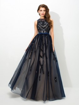 A-Line/Princess Sheer Neck Applique Sleeveless Floor-Length Tulle Dresses
