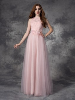 A-line/Princess Bateau Hand-Made Flower Sleeveless Floor-Length Net Dresses