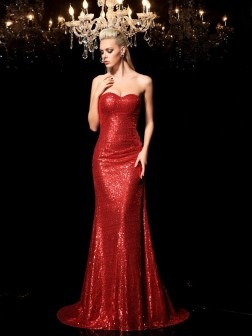 Sheath/Column Sweetheart Sequin Sleeveless Sweep/Brush Train Sequins Dresses
