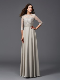 A-Line/Princess Scoop Applique 3/4 Sleeves Floor-Length Chiffon Dresses