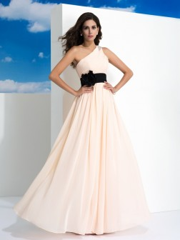 A-Line/Princess One-Shoulder Sash/Ribbon/Belt Sleeveless Floor-Length Chiffon Dresses