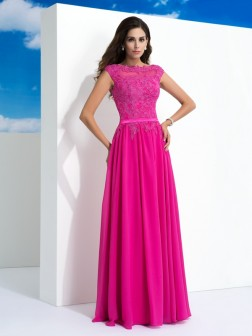 A-Line/Princess Sheer Neck Lace Sleeveless Floor-Length Chiffon Dresses