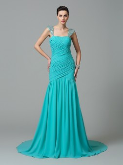 A-Line/Princess Straps Ruched Sleeveless Court Train Chiffon Dresses