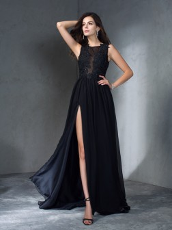A-Line/Princess Scoop Applique Sleeveless Sweep/Brush Train Chiffon Dresses