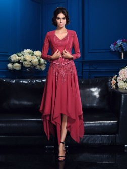 A-Line/Princess V-neck Applique Sleeveless Asymmetrical Chiffon Mother of the Bride Dresses