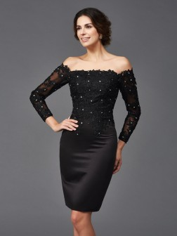 Sheath/Column Off-the-Shoulder Lace Long Sleeves Knee-Length Satin Mother of the Bride Dresses