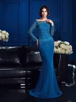 Sheath/Column Off-the-Shoulder Beading Long Sleeves Sweep/Brush Train Chiffon Mother of the Bride Dresses