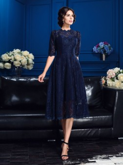 A-Line/Princess Jewel Lace 1/2 Sleeves Knee-Length Lace Mother of the Bride Dresses