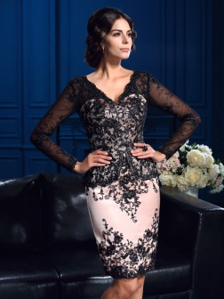 Sheath/Column V-neck Applique Long Sleeves Short/Mini Lace Mother of the Bride Dresses