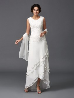 A-Line/Princess Scoop Lace Sleeveless Ankle-Length Chiffon Mother of the Bride Dresses