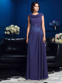 A-Line/Princess Pleats Sleeveless Floor-Length Chiffon Mother of the Bride Dresses