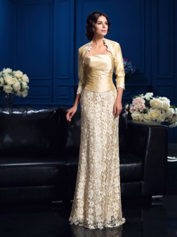 A-Line/Princess Strapless Lace Sleeveless Floor-Length Lace Mother of the Bride Dresses