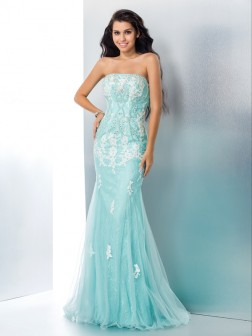 Trumpet/Mermaid Strapless Applique Sleeveless Floor-Length Lace Dresses