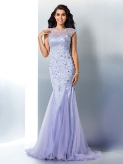 Trumpet/Mermaid Sheer Neck Beading Sleeveless Sweep/Brush Train Satin Dresses
