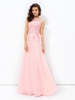 A-line/Princess Scoop Applique Sleeveless Floor-length Chiffon Dresses