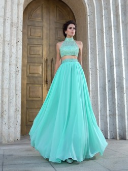 A-Line/Princess High Neck Beading Sleeveless Floor-Length Chiffon Dresses