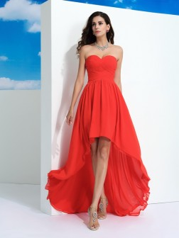 A-Line/Princess Sweetheart Pleats Sleeveless Asymmetrical Chiffon Dresses