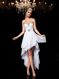 A-Line/Princess Sweetheart Beading Sleeveless Asymmetrical Chiffon Cocktail Dresses