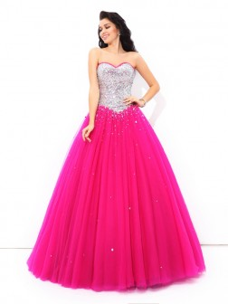 Ball Gown Beading Sweetheart Sleeveless Floor-Length Satin Quinceanera Dresses