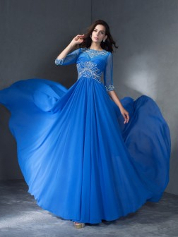 A-Line/Princess Scoop Beading 1/2 Sleeves Sweep/Brush Train Chiffon Dresses