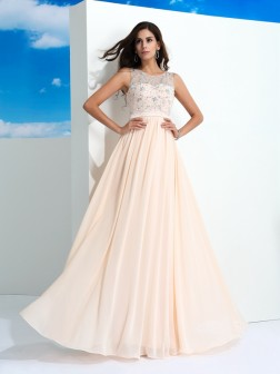 A-Line/Princess Sheer Neck Beading Sleeveless Floor-Length Chiffon Dresses
