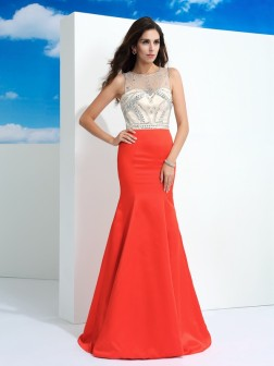 Trumpet/Mermaid Sheer Neck Beading Sleeveless Floor-Length Satin Dresses