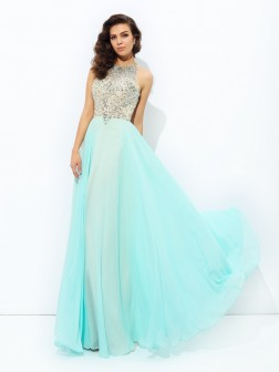 A-line/Princess Jewel Beading Sleeveless Floor-Length Chiffon Dresses