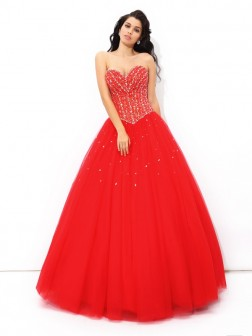 Ball Gown Sweetheart Beading Sleeveless Floor-Length Net Quinceanera Dresses