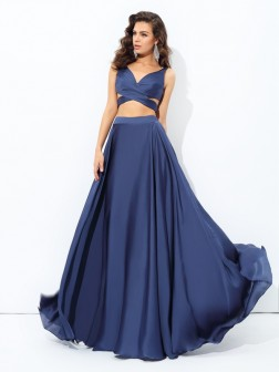 A-line/Princess Straps Sleeveless Floor-Length Satin Chiffon Dresses