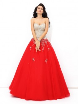 Ball Gown Sweetheart Beading Sleeveless Floor-Length Satin Quinceanera Dresses