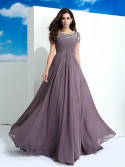 A-Line/Princess Sheer Neck Beading Short Sleeves Floor-Length Chiffon Dresses